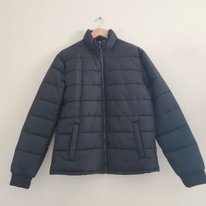 Forever 21 Men's Zip Up Puffer Jacket Black Large